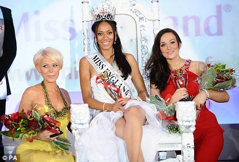 Rachel Christie, winner of Miss England 2009, is flanked by third placed Viki Bailey, Miss Leeds, left, and lance corporal Katrina Hodge, who came second